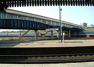 The footbridge over the fan of tracks leading to sheds and sidings