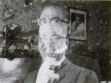 Clarence E. Willard, with a photographic effect showing his increase in height