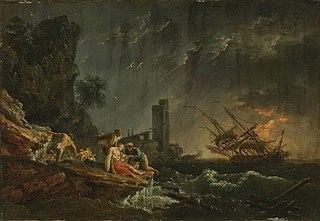 Seesturm mit Schiffbrüchigen