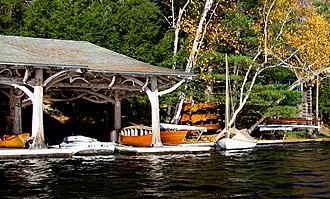 Camp Topridge - Image: Closeup of boats in 1st boathouse at Topridge