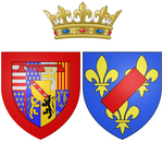 Description de l'image Coat of arms of Catherine Henriette de Bourbon, Légitimee de France as Duchess of Elbeuf.png.