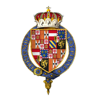 Arms of Charles, Infante of Spain, Archduke of Austria, Duke of Burgundy, KG at the time of his installation as a knight of the Most Noble Order of the Garter.