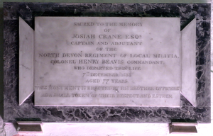 "Royal North Devon Yeomanry - Monument in Pilton Church to Col. Henry II Beavis (1736-1813), ""Commandant, North Devon Regiment of Local Militia"""