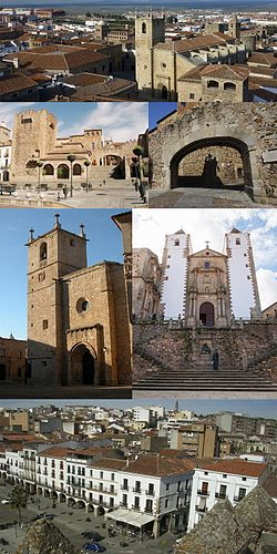 Collage, Top:Caceres ancient area in Plaza de Santa Maria (Santa Maria Square), Second left:Torre de Bujaco (Bujaco Tower), Second right:Arco de la Estrella (Star Archway), Third left:Caceres Santa Maria Cathedral, Third right:Caceres San Francisco Javier Church, Bottom:Mayor Square and Caceres City Office