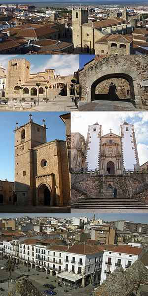 Cáceres, Spain - Collage, Top:Caceres ancient area in Plaza de Santa Maria (Santa Maria Square), Second left:Torre de Bujaco (Bujaco Tower), Second right:Arco de la Estrella (Star Archway), Third left:Caceres Santa Maria Cathedral, Third right:Caceres San Francisco Javier Church, Bottom:Mayor Square and Caceres City Office