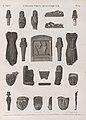 Collection d'antiques. 1.2. Figures en pâte de porcelaine; 3-6.9.10.21.22. en bois peint; 7.8.12-15. en basalte; 11. bas-reliefs en pierre; 16.17.20.23. Masques en terre; 18.19. en bronze (NYPL b14212718-1268237).jpg