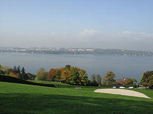 Cologny - View from the Geneva Golf Club across Lake Geneva