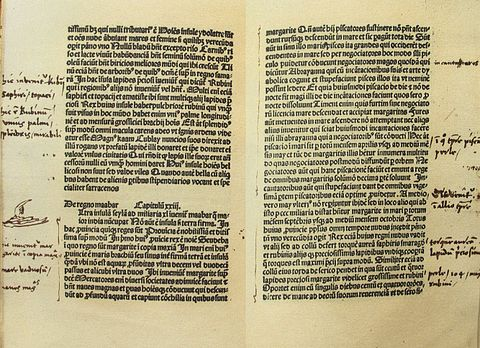 Columbus's copy of The Travels of Marco Polo, with his handwritten notes in Latin written on the margins ColombusNotesToMarcoPolo.jpg