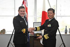 John Martin (admiral) - Commodore Martin (left) visits the Japanese Self Defence Fleet Headquarters in Yokosuka, October 2012