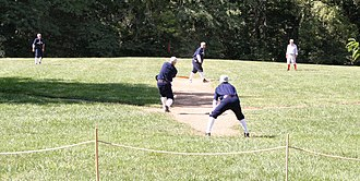 "History of baseball in the United States - A 2005 vintage base ball game, played by 1886 rules. Vintage games are live contests that seek to portray the authenticity of the early game. (The term ""reenactment"" is a common misnomer; games are contested and not meant to recreate a specific historical event.)"