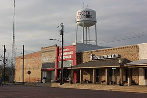 Cooper, Texas - Businesses on Cooper's town square, December 2012