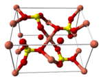 Ball-and-stick model of the unit cell of anhydrous copper(II) sulfate