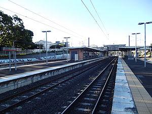 Corinda railway station - Northbound view from Platform 2 in August 2012