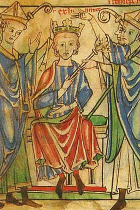Coronation of Henry the Young King - Becket Leaves (c.1220-1240), f. 3r - BL Loan MS 88-2.jpg