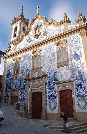 Covilhã - Santa Maria Church in Covilhã. In the 1940s the façade was covered with tiles (azulejos).