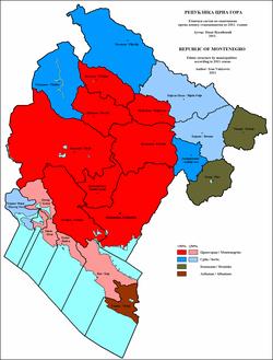 etnicka mapa crne gore Nacionalno izjašnjavanje na popisima u Crnoj Gori – Wikipedija etnicka mapa crne gore