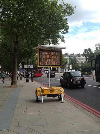 Variable-message sign - Trailer-mounted VMS in central London, England