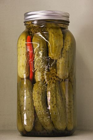 Mason jar - A wide-mouth Mason jar filled with pickles