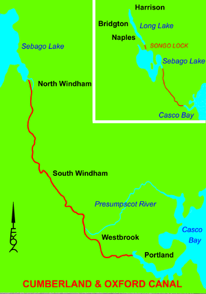 Cumberland and Oxford Canal - Map of canal with inset showing Long Lake, Songo Lock, and Sebago Lake