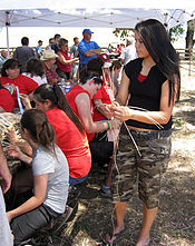 Example image of people at a Cherokee Nation basket weaving workshop