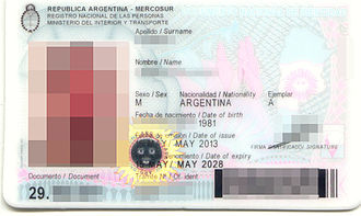 Visa requirements for Argentine citizens - Front side of current version of the DNI