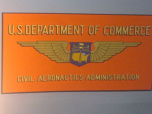 United States government role in civil aviation - logo on side of a test aircraft