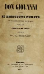 Don Giovanni, ossia Il dissoluto punito; melodramma giocoso in due atti dell'abate Lorenzo de Ponte