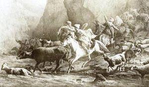 Lekianoba - Return of Lezgians from a raid, 1870s