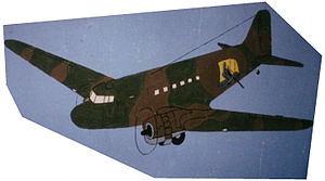 44 Squadron SAAF - Dakota gunship drawn on the wall at the sleeping quarters at AFB Ondangwa by sergeant George Avis.