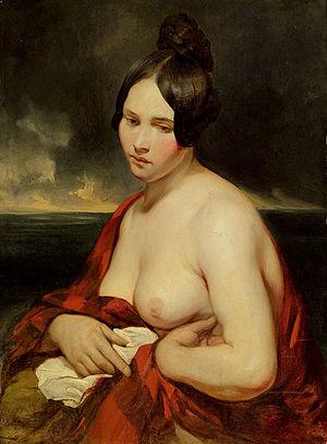 Josef Danhauser - Die Frau vom Meer (oil on wood, 1840)