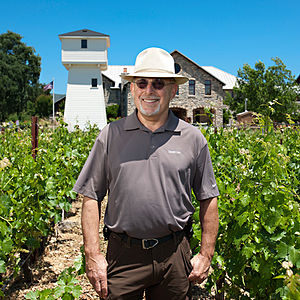 Daniel Baron - Baron walking through the vineyards at Silver Oak's Oakville winery