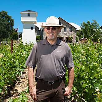 Daniel Baron - Baron walking through the vineyards at Silver Oak's Oakville winery