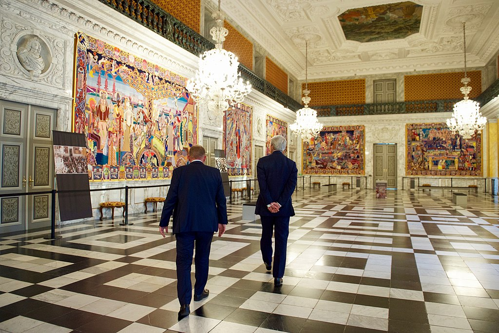 Dans le grand hall depuis le palais de Christiansborg à Copenhague (Danemark).