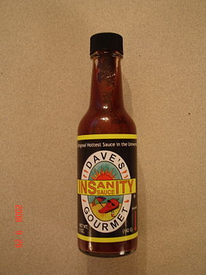 Bottle of Dave's Gourmet Insanity Sauce
