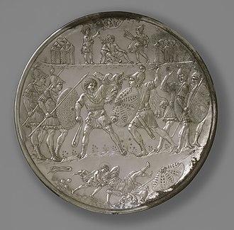 David Plates - David battles Goliath, the largest plate.