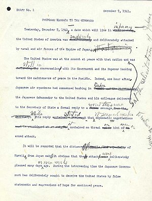Infamy Speech - A first draft of the Infamy Speech, with changes by Roosevelt