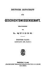 Deutsche Zeitschrift für Geschichtswissenschaft. Band 3.
