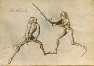 Longsword - Unarmoured longsword fencers (plate 25 of the 1467 manual of Hans Talhoffer)
