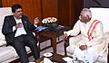 Deepak Sawant meeting the Minister of State for Labour and Employment (Independent Charge), Shri Bandaru Dattatreya, to discuss the setting up new ESIC hospitals in the state, in New Delhi.jpg