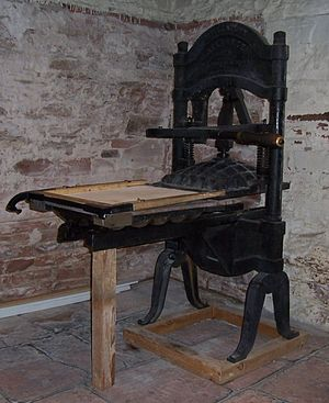 Utah Territorial Statehouse - An historic printing press displayed in the statehouse, which once printed the Deseret News.