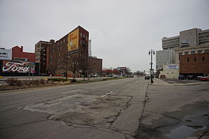 M-3 (Michigan highway) - Gratiot Avenue at Brush Street, looking northeast
