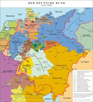Lesser Germany - Map of the German Confederation, 1815-1848 and 1851-1866