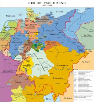Rhine crisis - Borders of the German Confederation, c. 1840