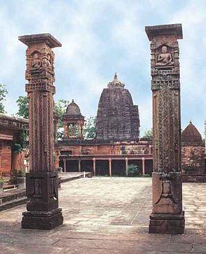 Deogarh, Uttar Pradesh - The Shantinath Temple columns in the fort show Jain monks