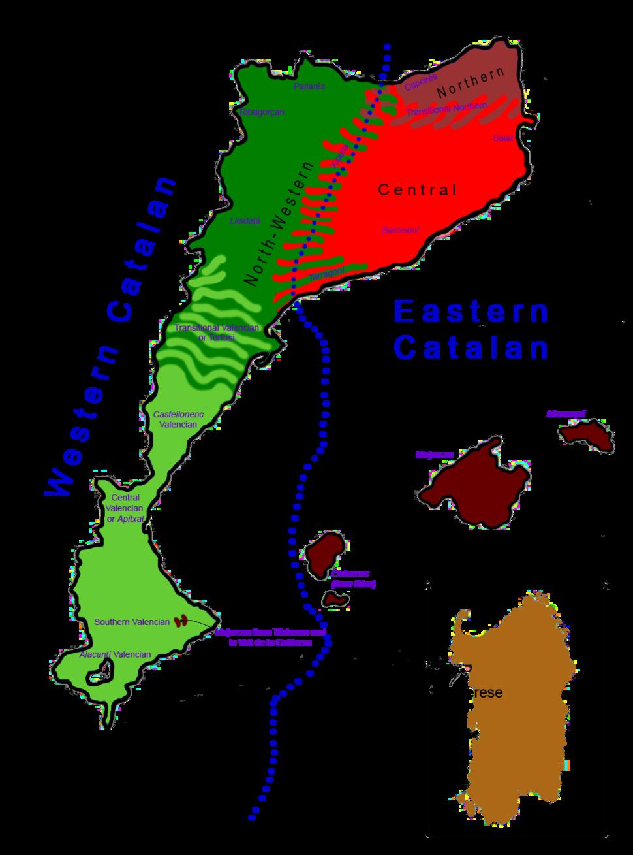 Dialectal map of Catalan Language