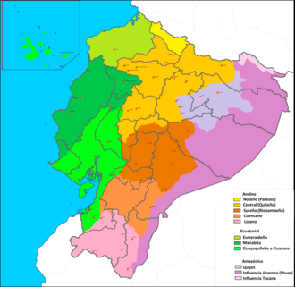 Equatorial Spanish - Map of the main dialects of Spanish in Ecuador (the sub-dialects of the Equatorial Spanish are represented in three colors).