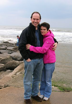 Diane Coyle - Diane Coyle with her husband Rory Cellan-Jones at Southerndown in May 2006