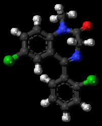 Diclazepam molecule ball.png