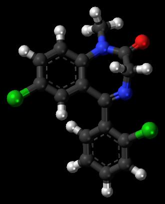 Diclazepam - Image: Diclazepam molecule ball