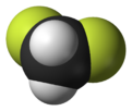 Spacefill model of difluoromethane